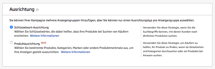 Amazon Sponsored Products - Ausrichtung