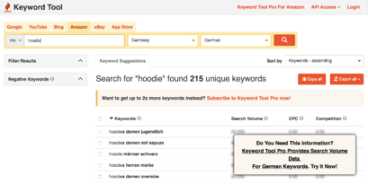 Keyword Tool.io Screenshot